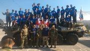 Воспитанники палаточного лагеря Здоровье с представителями ДОСААФ